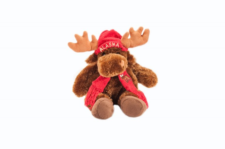 loveditinalaska.com | Plush Moose with Red Hat and Scarf