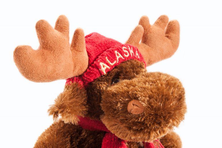loveditinalaska.com | Plush Moose with Red Hat and Scarf