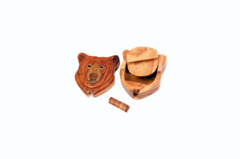 loveditinalaska.com | Wooden Brown Bear Puzzle Box