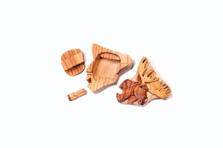loveditinalaska.com | Wooden Moose Puzzle Box