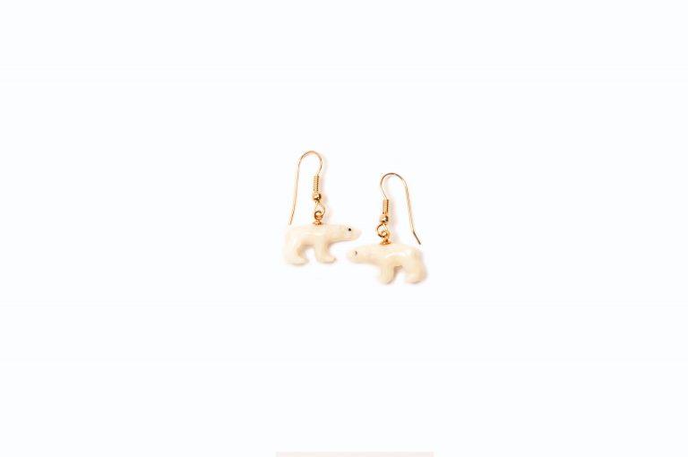 Carved Polar Bear Earrings