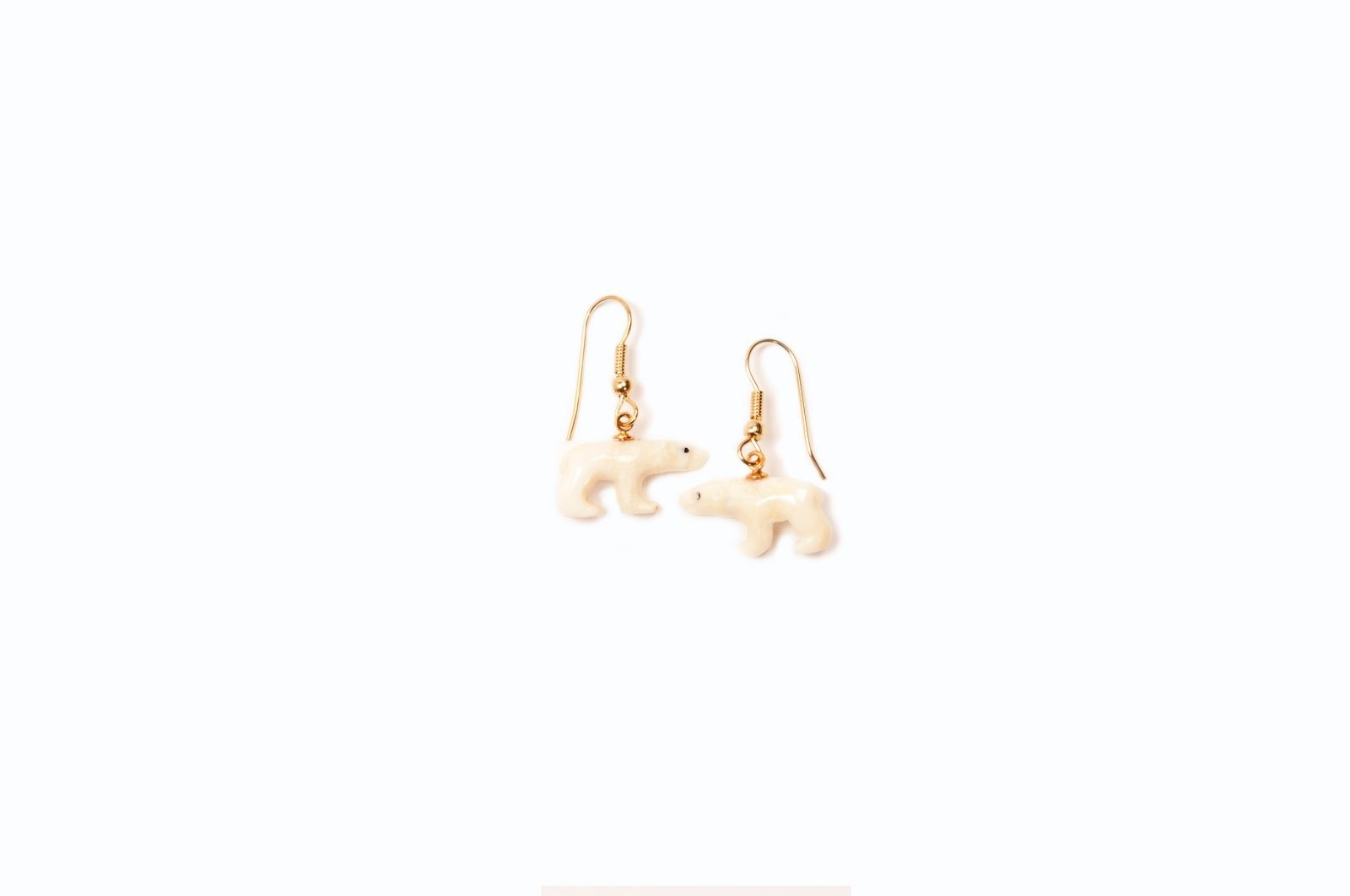 Carved Polar Bear Earrings
