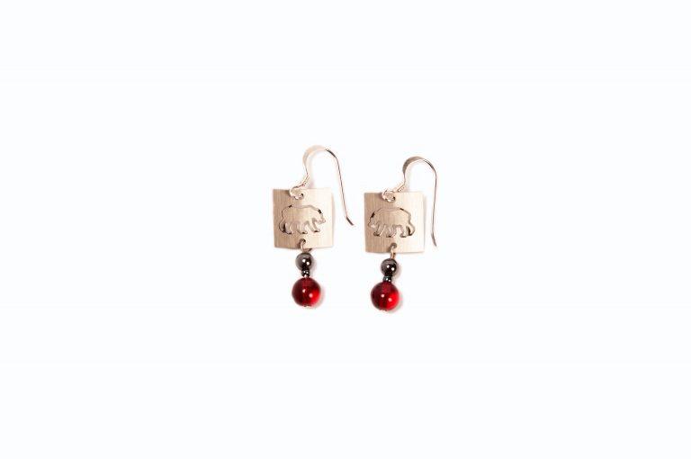 Stainless Petroglyph Polar Bear Earrings