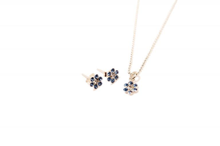 Forget Me Not Crystal Earrings and Necklace Set