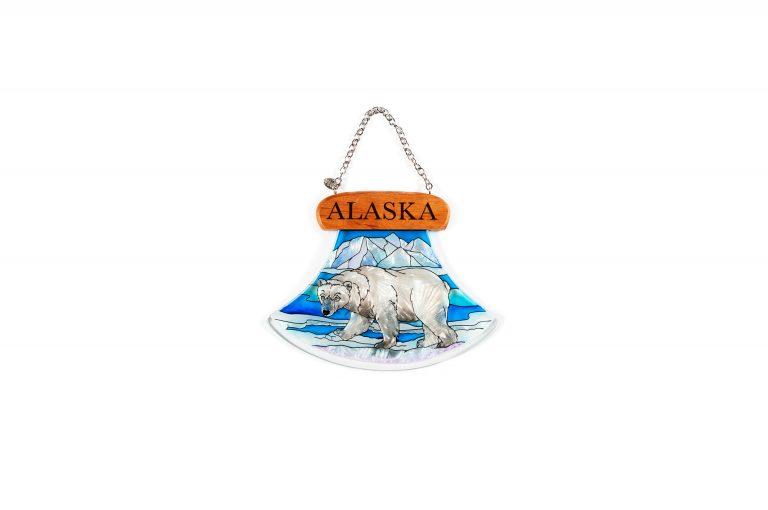 Polar Bear Stained Glass Ulu Window Hanger