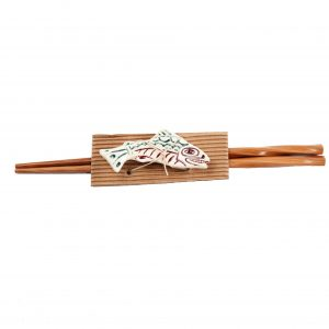 Salmon Totemic Chopsticks with Rest