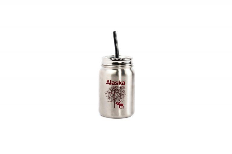 Stainless Mason Style Moose Bottle-30 oz
