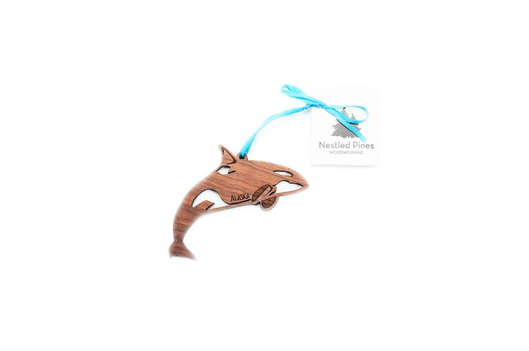 Laser Cut Wood Whale Ornament