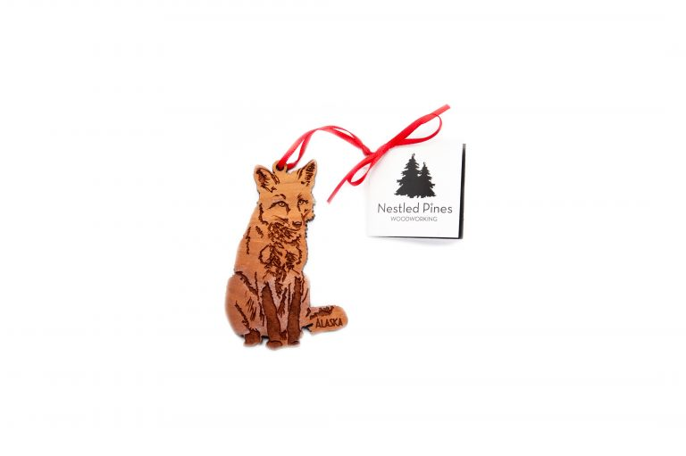 Laser Cut Wood Wolf Ornament