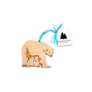 Laser Cut Wood Polar Bear Ornament