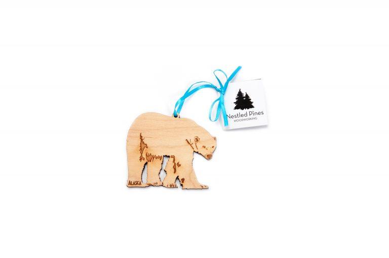 Laser Cut Wood Polar Bear Ornament