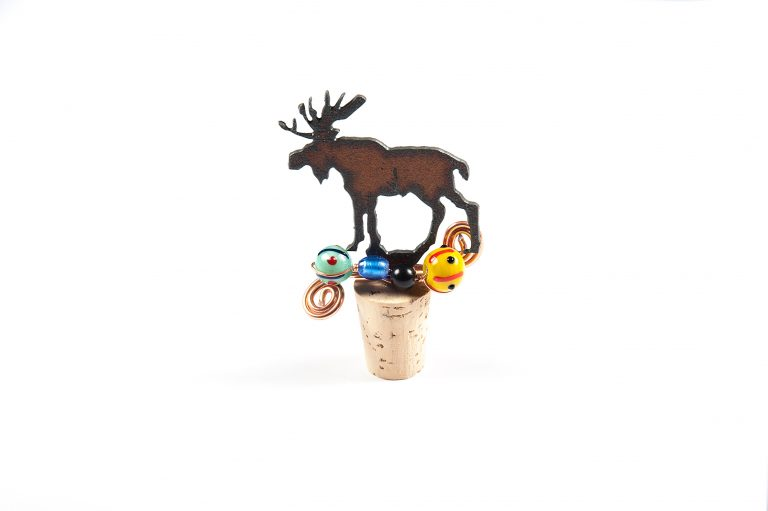 Rustic Barn Moose Cork Bottle Topper
