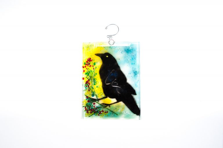 Glass Raven Plaque