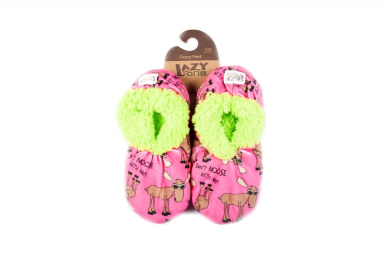 Lazy One Fuzzy Feet Slippers-Pink Moose
