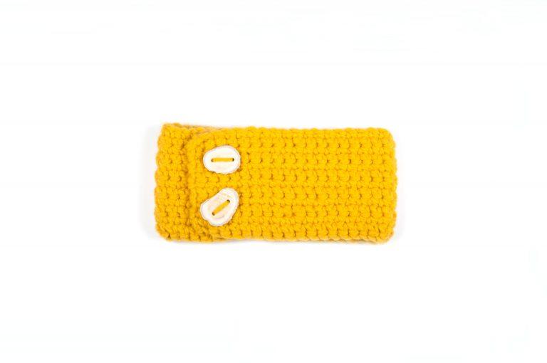 Rebecca Oswald Crochet Headband with Antler Button-Yellow