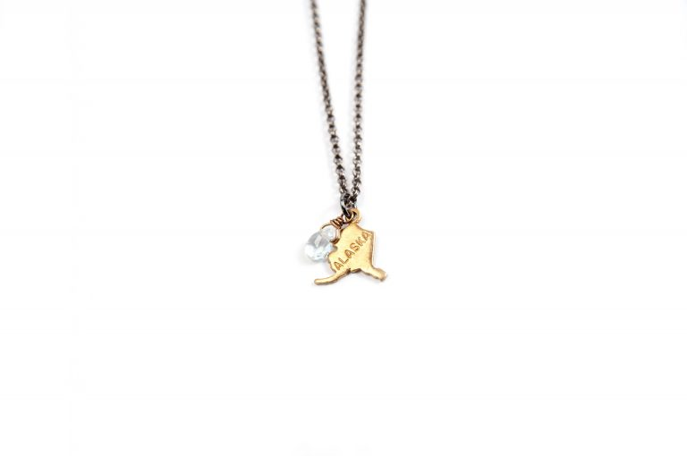Gretchen and Elloise Alaska State Charm Necklace-Clear