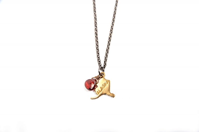 Gretchen and Elloise Alaska State Charm Necklace-Red