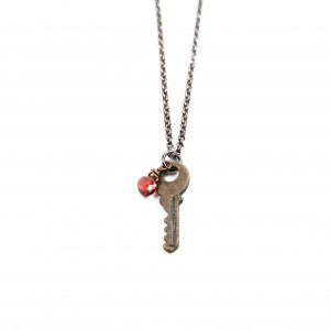 Gretchen and Elloise Key Charm Necklace-Red