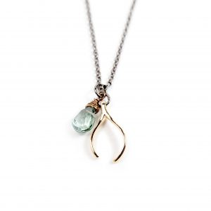 Gretchen and Elloise Wishbone Charm Necklace-Blue