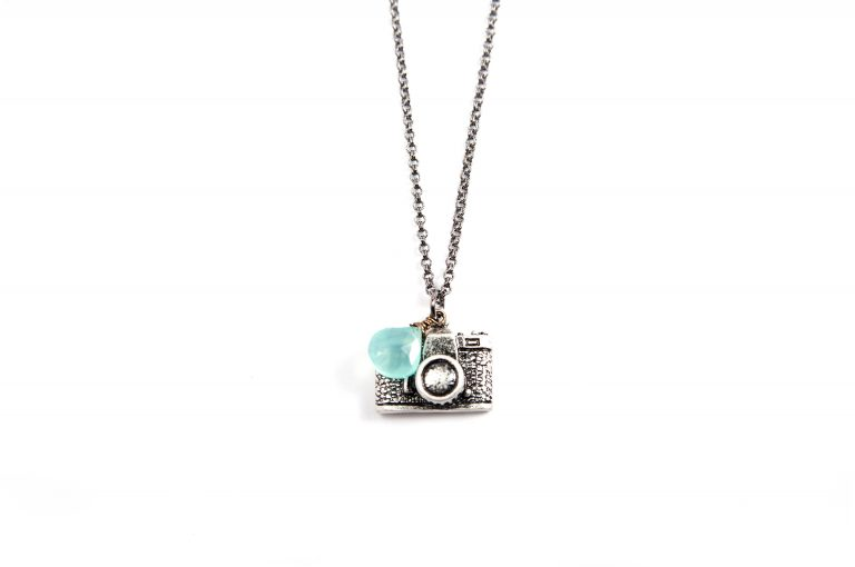 Gretchen and Elloise Camera Charm Necklace-Blue