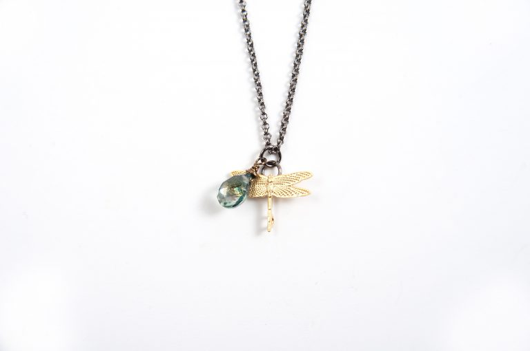 Gretchen and Elloise Dragonfly Charm Necklace-Blue