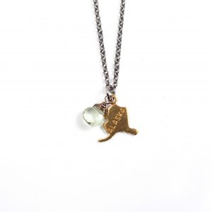 Gretchen and Elloise Alaska State Charm Necklace-Light Green