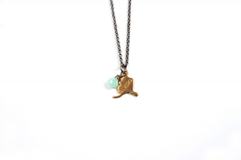 Gretchen and Elloise Alaska State Charm Necklace-Green