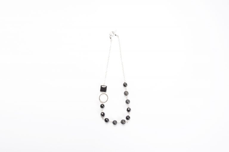 Fog and Fern Semi-Precious Beaded Necklace-Black and Silver