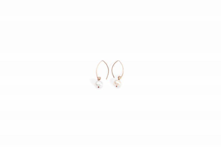Fog and Fern Semi-Precious Beaded Earrings-Pearl and Copper