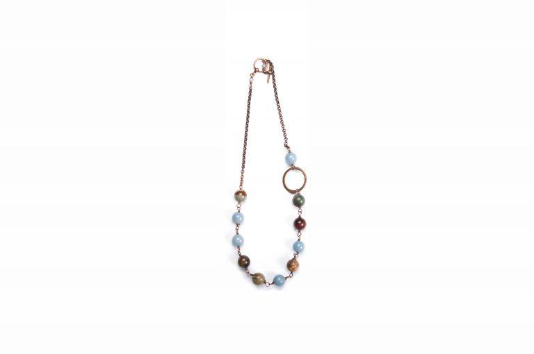 Fog and Fern Semi-Precious Beaded Necklace-Blue Multi and Copper
