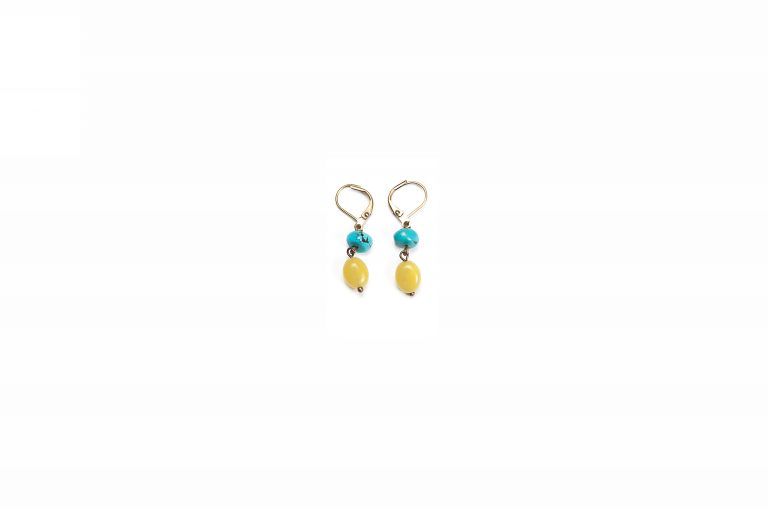 Fog and Fern Semi-Precious Beaded Earrings-Turquoise