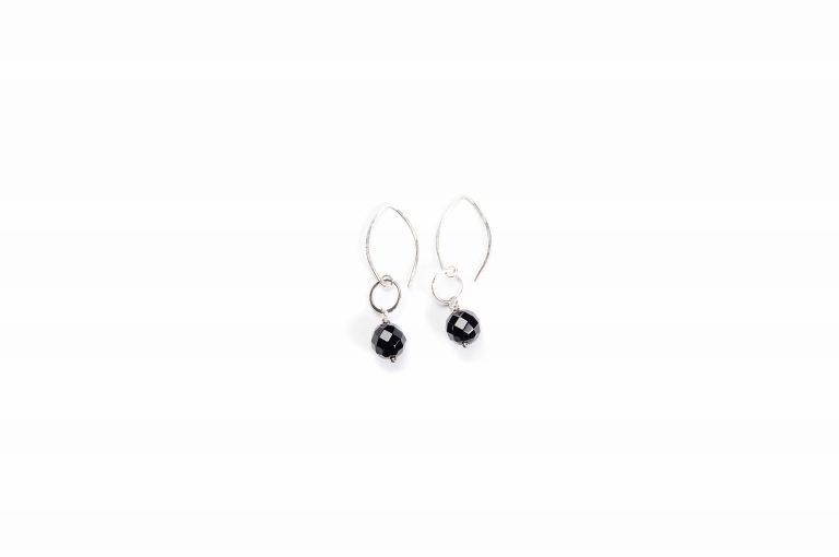 Fog and Fern Semi-Precious Beaded Earrings-Black and Silver