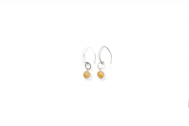 Fog and Fern Semi-Precious Beaded Earrings-Yellow and Silver