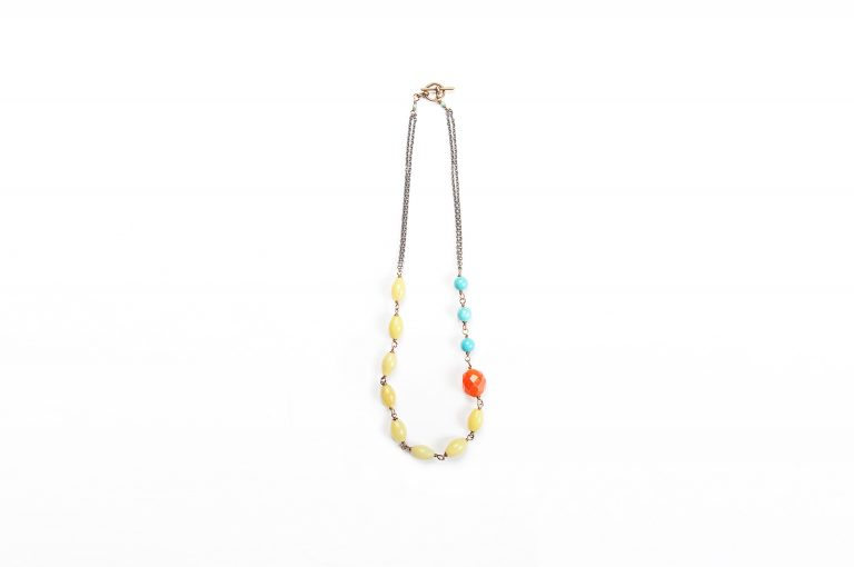 Fog and Fern Semi-Precious Beaded Necklace-Yellow Multi and Copper