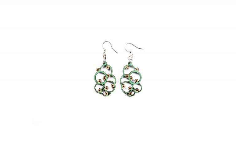 Green Treen Jewelry Blossoms Earrings-Sunflower