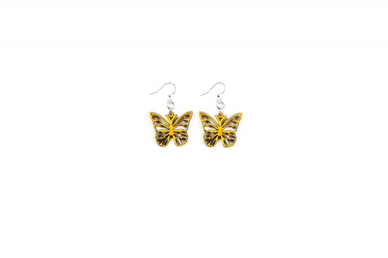 Green Treen Jewelry Blossoms Earrings-Butterfly