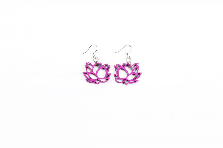 Green Treen Jewelry Blossoms Earrings-Flower