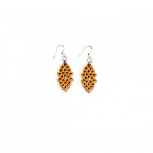 Green Treen Jewelry Blossoms Earrings-Yellow