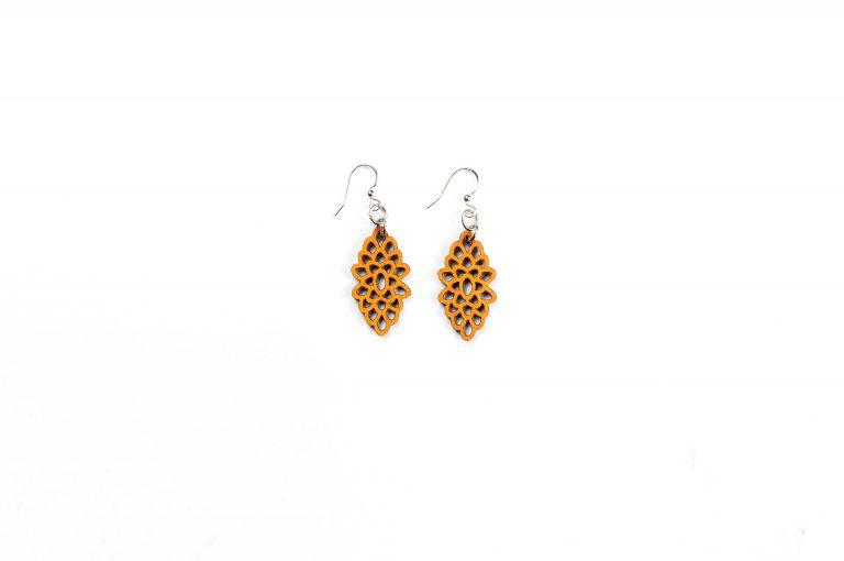 Green Treen Jewelry Blossoms Earrings-Yellow