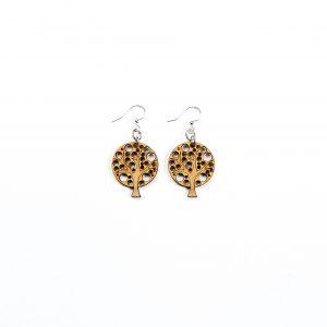 Green Treen Jewelry Blossoms Earrings-Tree