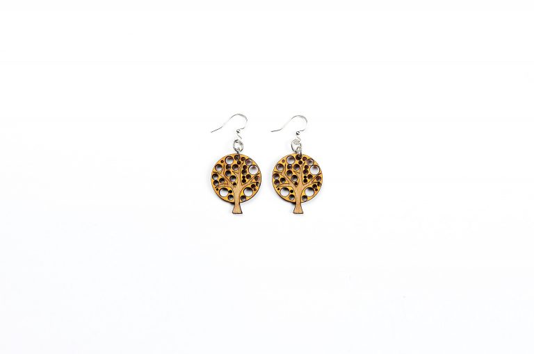 Green Treen Jewelry Blossoms Earrings-Tree