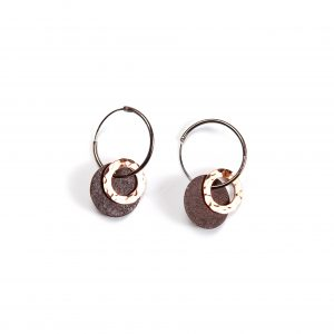 Old Tin Roof Recycled Tin and Copper Earrings-Hoop