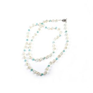 loveditinalaska.com | An Old Soul Crocheted Faceted Crystal Necklace-Blue White