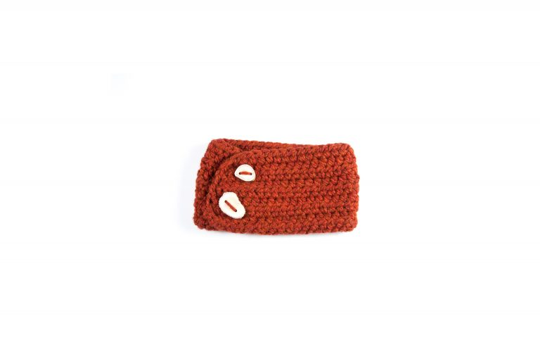 Rebecca Oswald Crochet Headband with Antler Button-Rust