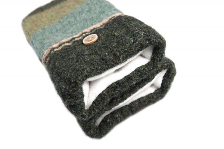 loveditinalaska.com | Always Stitchen Handmade Mittens-Charcoal Green Stripe