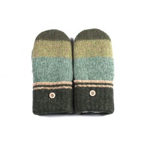 loveditinalaska.com | Always Stitchen Handmade Mittens-Charcoal Green Stripe