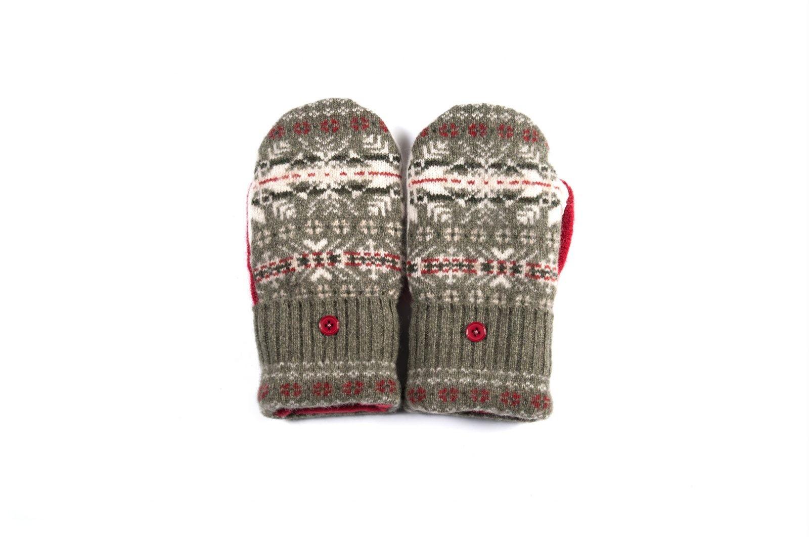 loveditinalaska.com | Always Stitchen Handmade Mittens-Gray Red