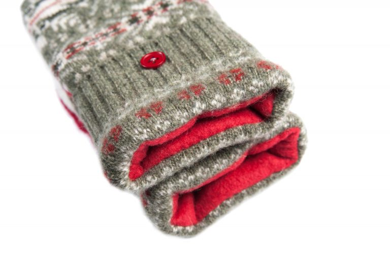 loveditinalaska.com | Always Stitchen Handmade Mittens-Gray Red