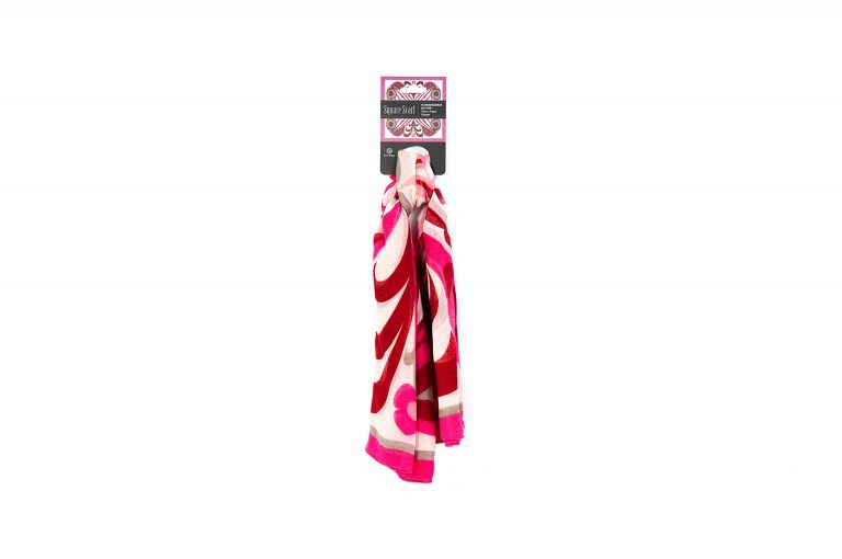 Native Northwest Square Scarf-Red White Pink